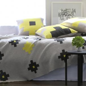 Cotton Tetris knit blanket - Lemon - $305
