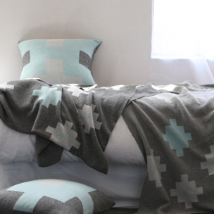 Cotton Tetris knit blanket - Tiffany - $305