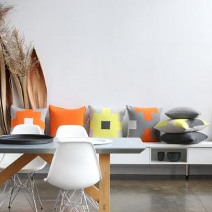 Cotton Tetris knit cushions - lemon + clementine
