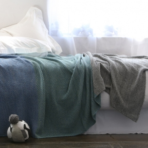 Cotton TRI-moss knit bedding . blue combo . $320