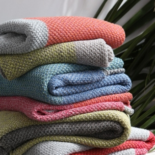Cotton TRI-moss knit throws . multi colours . $320