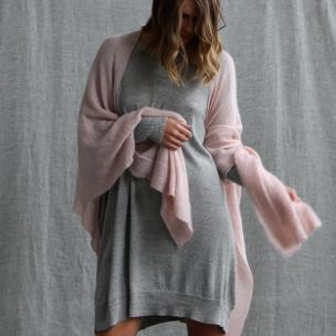 Kid Mohair Gossamer Knit Wrap . . . $319 . . . BLUSH . . . over FLECK knit dress