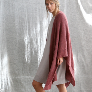 Kid Mohair Gossamer Knit Wrap . . . $319 . . . LYCHEE . . . over STONE knit dress