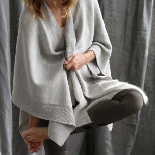Merino Wool Knitted wrap ... birch... $319