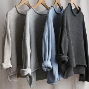 Roll neck cotton melangé knit jumpers