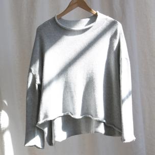 Roll neck cotton melangé knit jumper - Silver