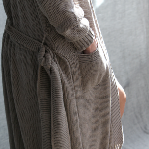 Cotton Piqué Knit Gown  . . . $250 . . . S-M M-L . . . FAWN cotton