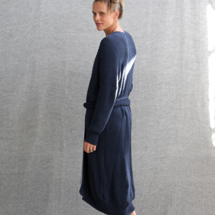 Cotton Piqué Knit Gown  . . . $250 . . . S-M ~ M-L  . . . NAVY cotton