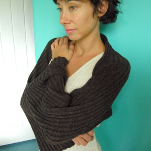 Luna Gal wool rib knit shrug . sleeves .