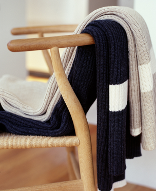 Luna Home classic rib stripe knitted blankets